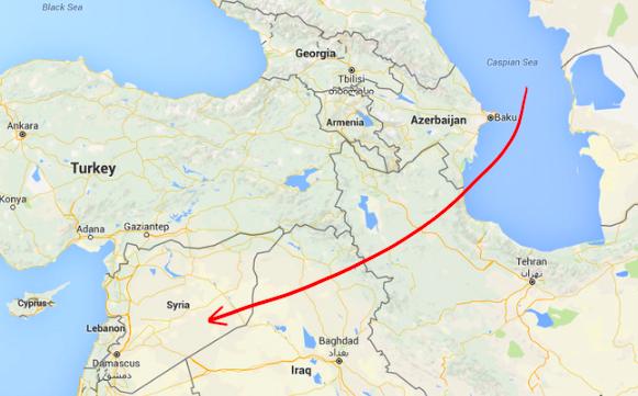 ISISを攻撃したロシアのミサイルの経路